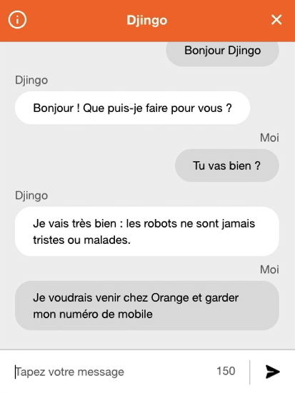orange djingo chatbot personnalité humour