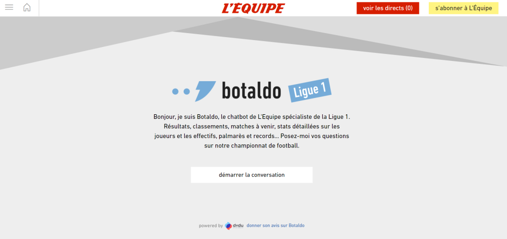 chatbot football ligue 1 l'equipe